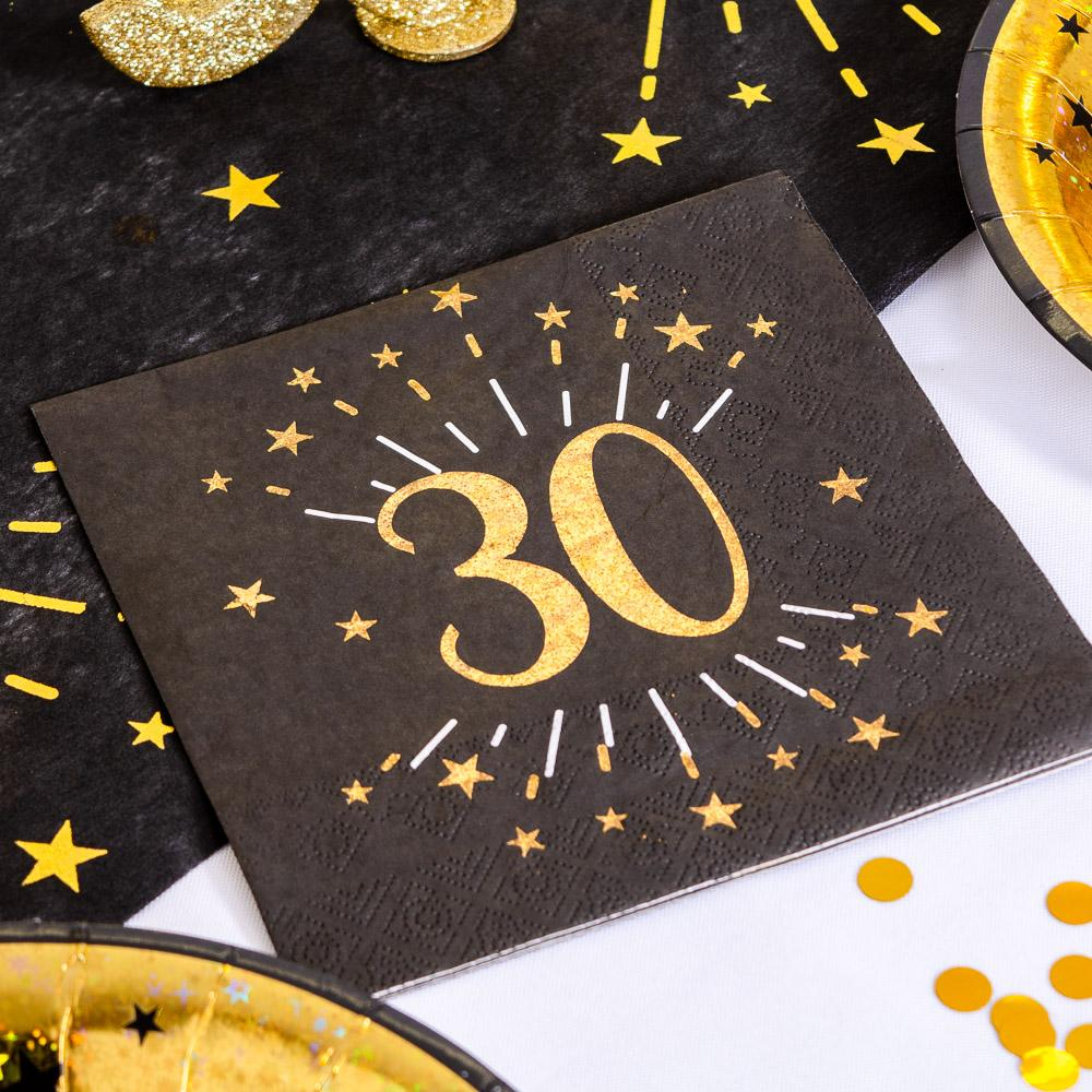 30th Birthday Black & Gold Sparkle Napkins (x10)