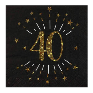 40th Birthday Sparkle Napkins (x10)