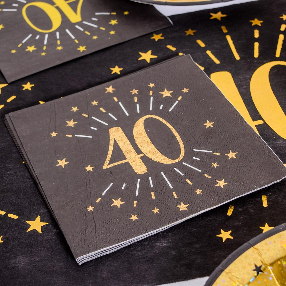 40th Birthday Black & Gold Sparkle Napkins (x10)