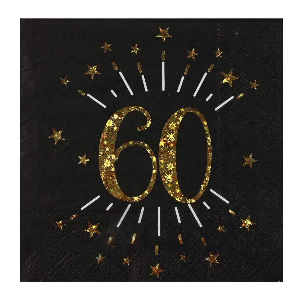 60th Birthday Black & Gold Sparkle Napkins (x10)