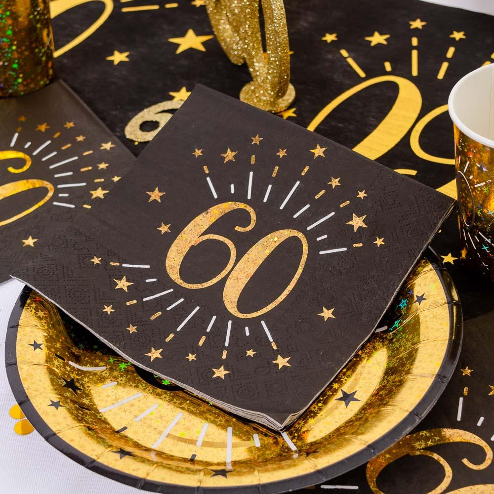 60th Birthday Sparkle Napkins (x10)