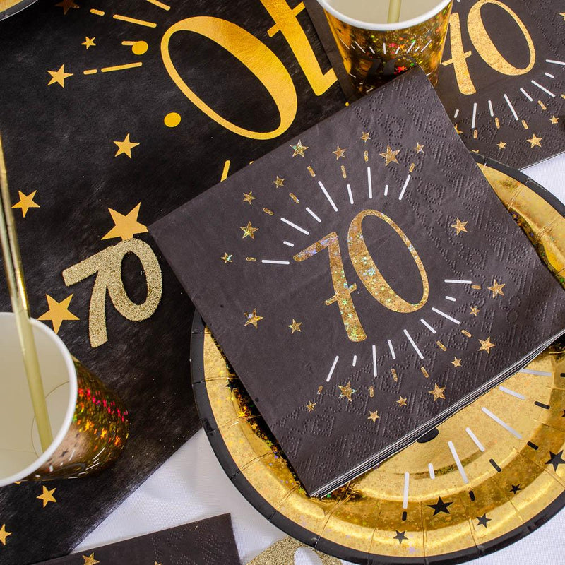 70th Birthday Black & Gold Sparkle Napkins (x10)
