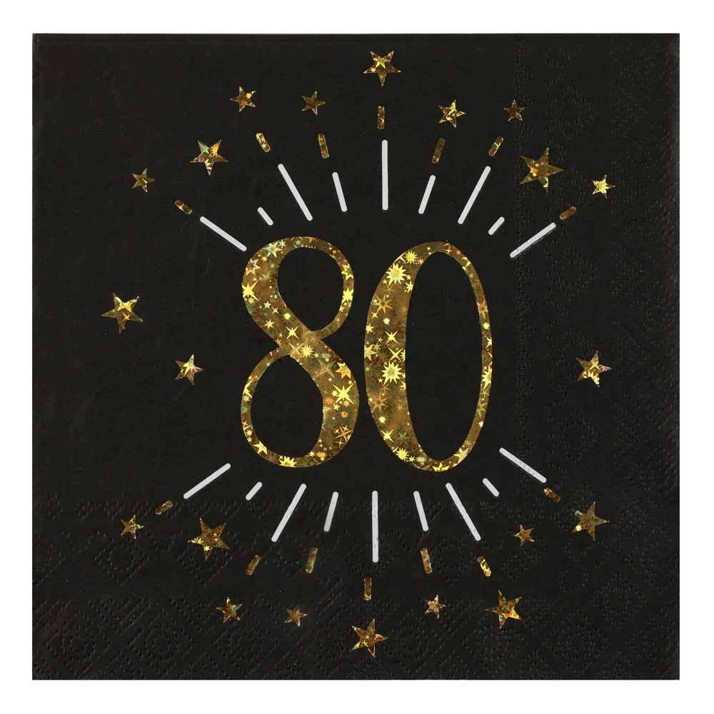 80th Birthday Sparkle Napkins (x10)