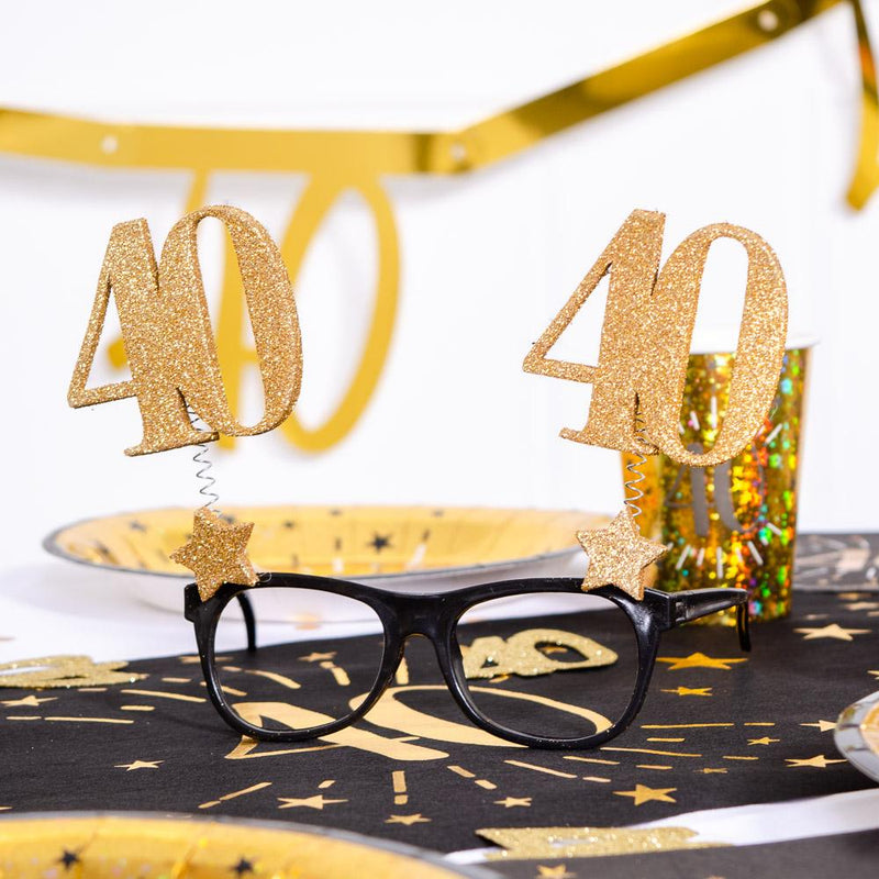 40th Birthday Glitter Sparkle Glasses