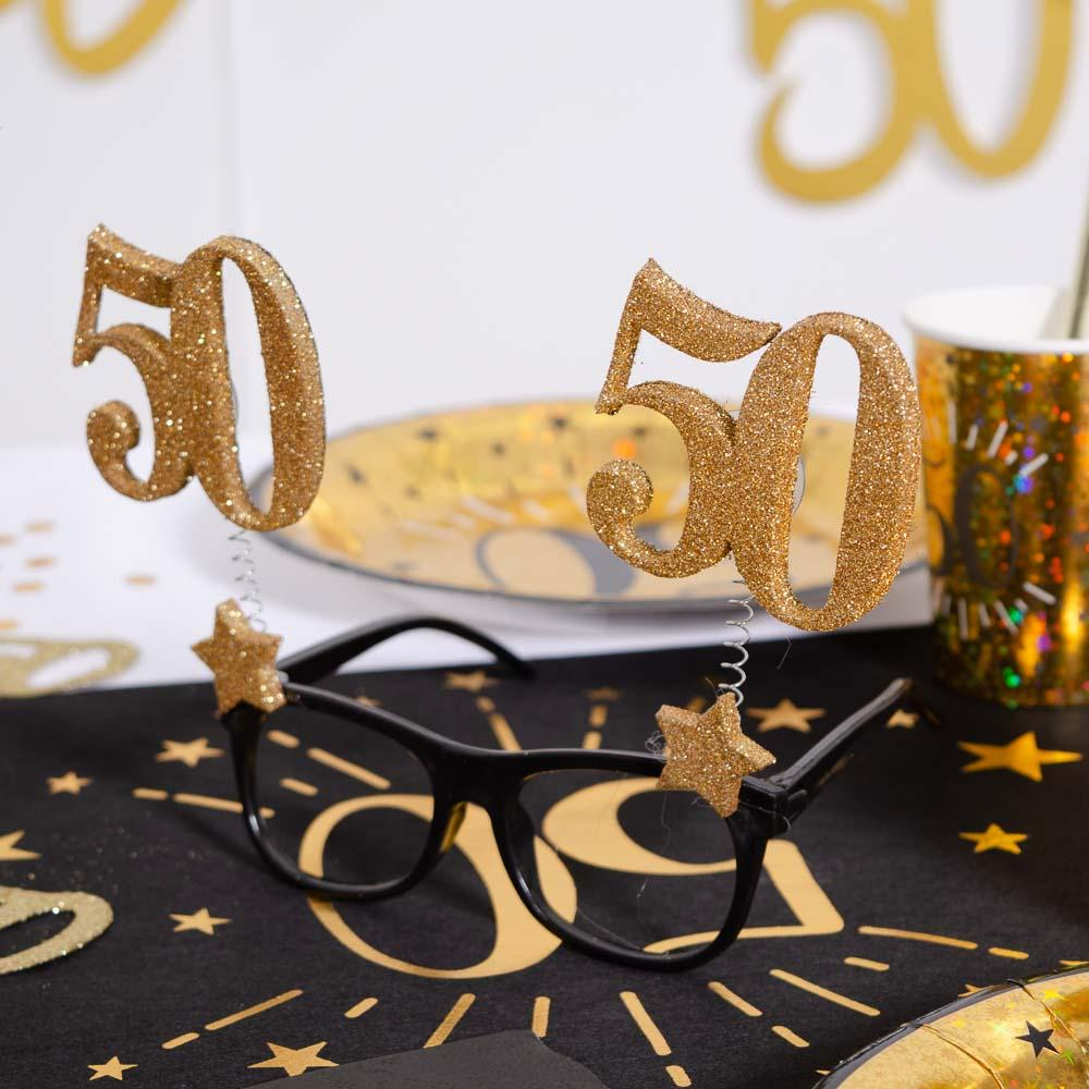 50th Birthday Glitter Sparkle Glasses
