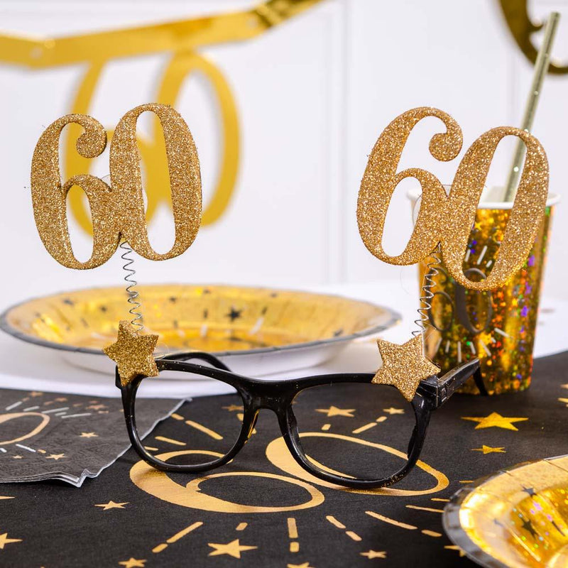60th Birthday Glitter Sparkle Glasses