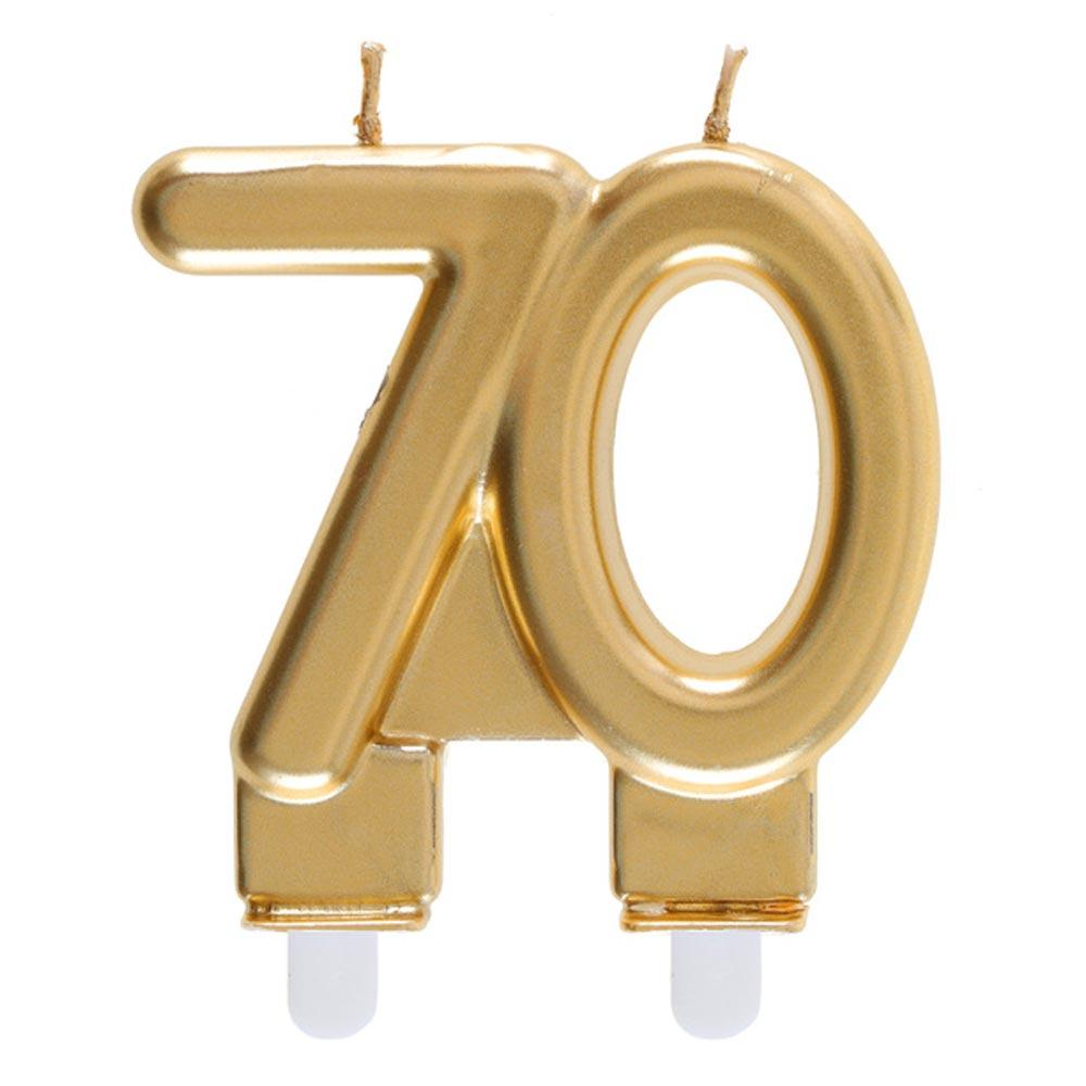 70th Birthday Gold Candle