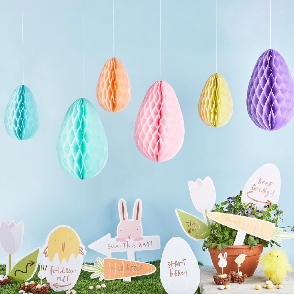 Pastel Honeycomb Egg Decorations (x6)