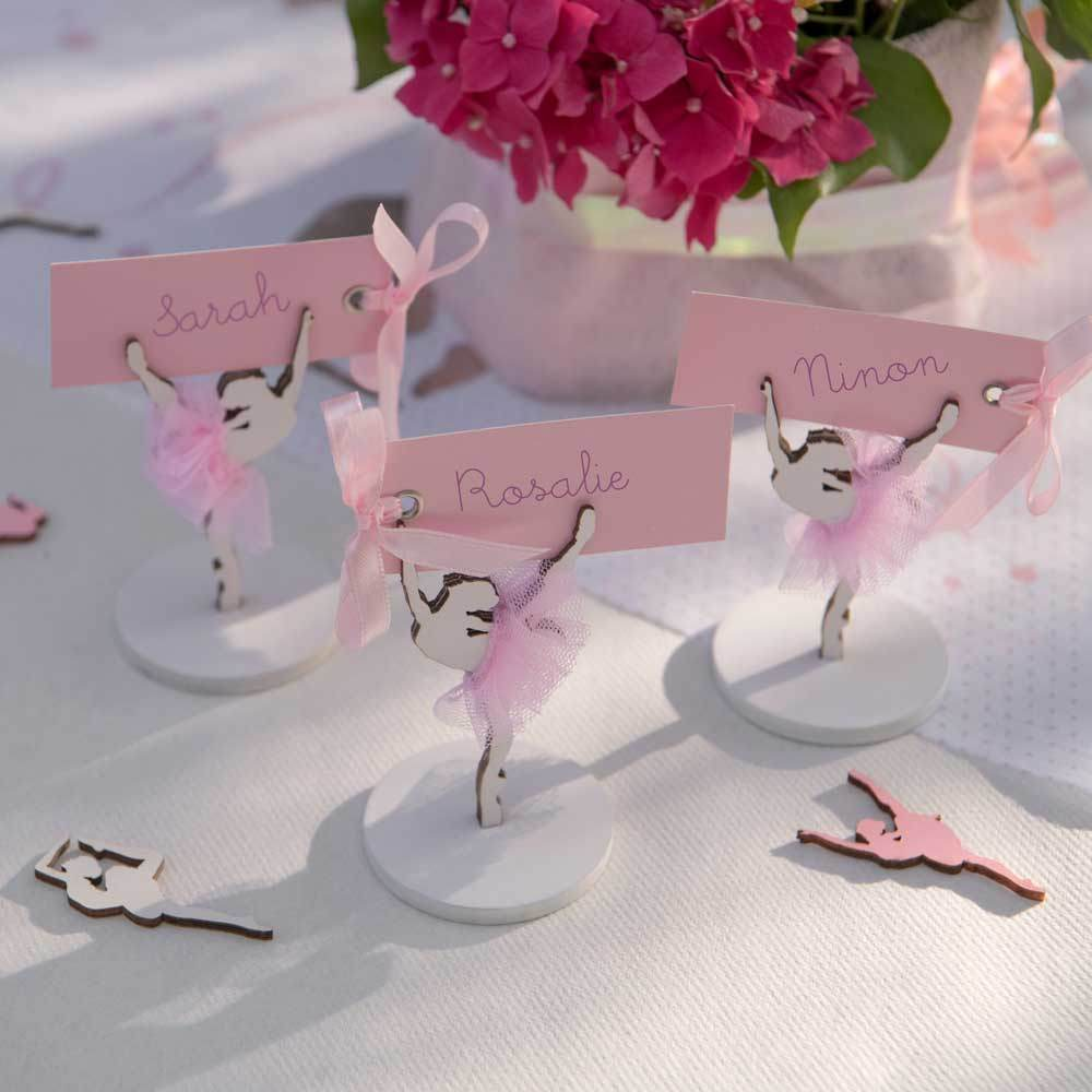 Pink Rectangle Name Card on Ribbon (x12)