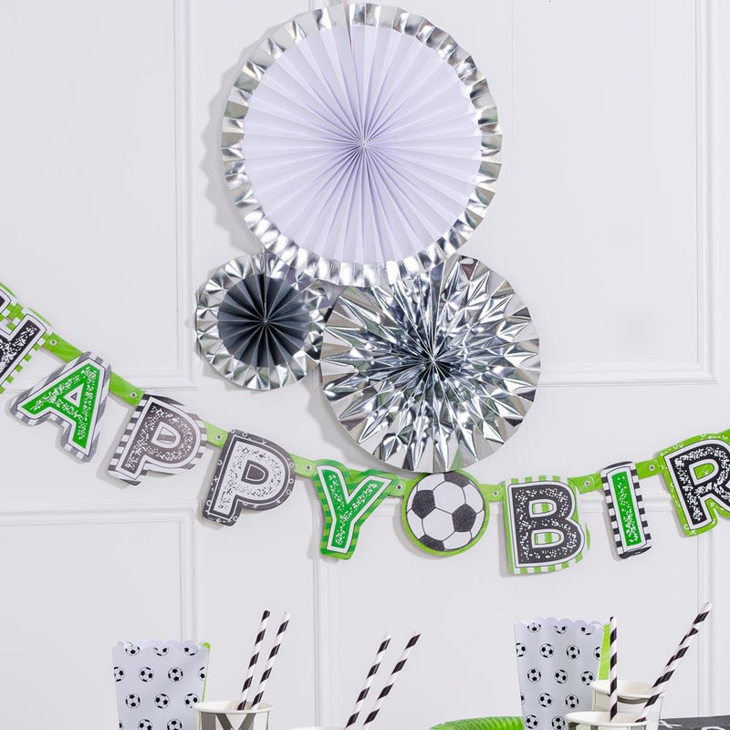 Decorative Party Fans - Silver (x3)
