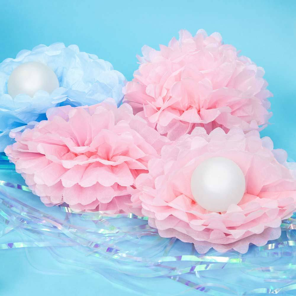 Tissue Paper Pom Pom Decoration Light Pink