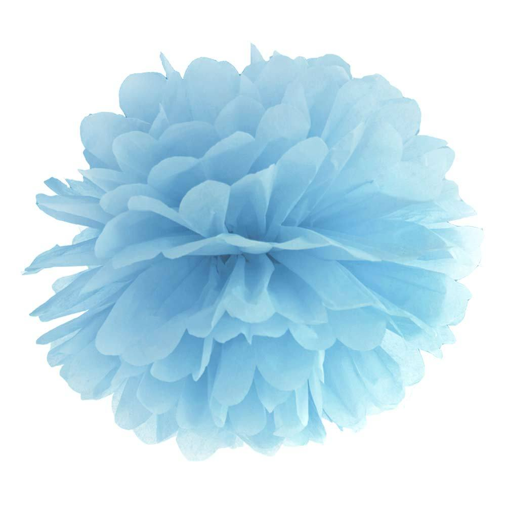 Tissue Paper Pom Pom Decoration Sky Blue