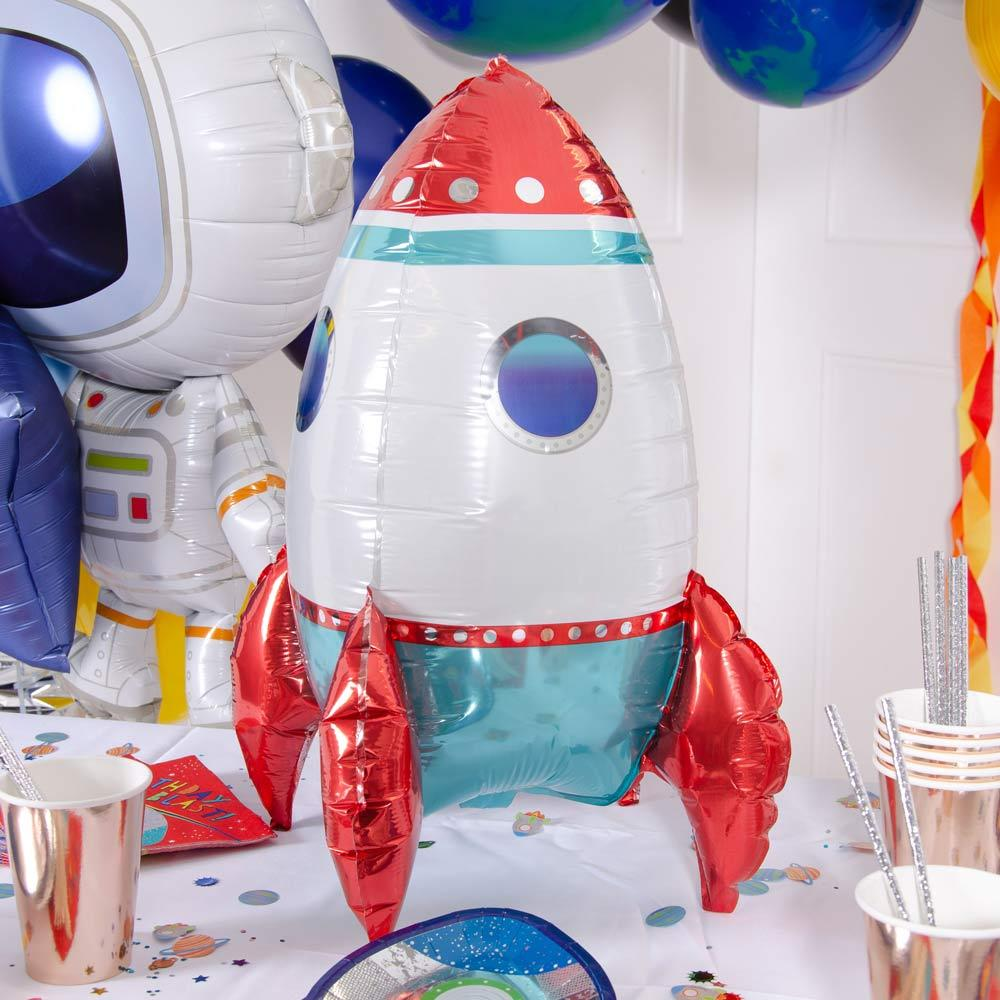 Rocket Ship 3D Air Filled Foil Balloon