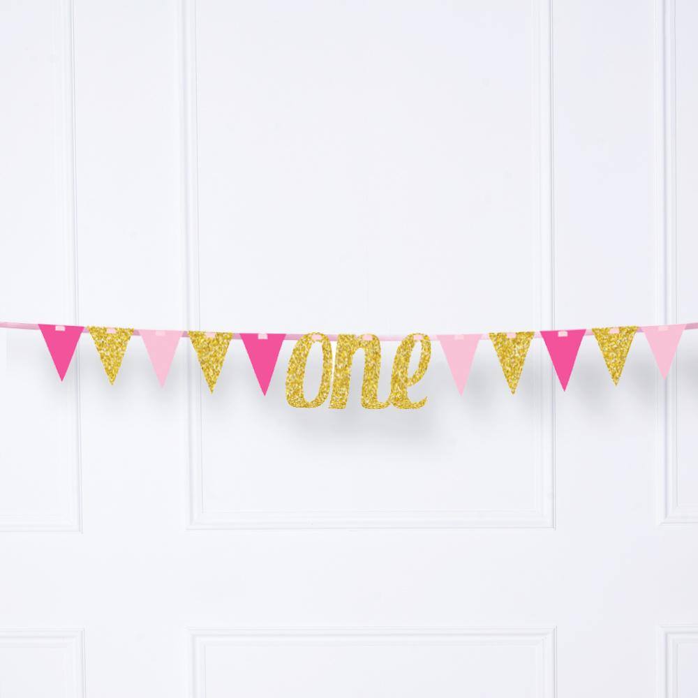 Glitter One Ribbon Banner - Pink