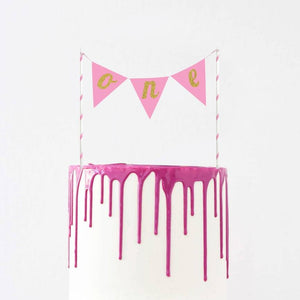 Cake Banner Topper - Pink