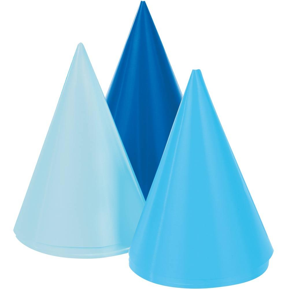 Mini Cone Hats - Blue (x8)
