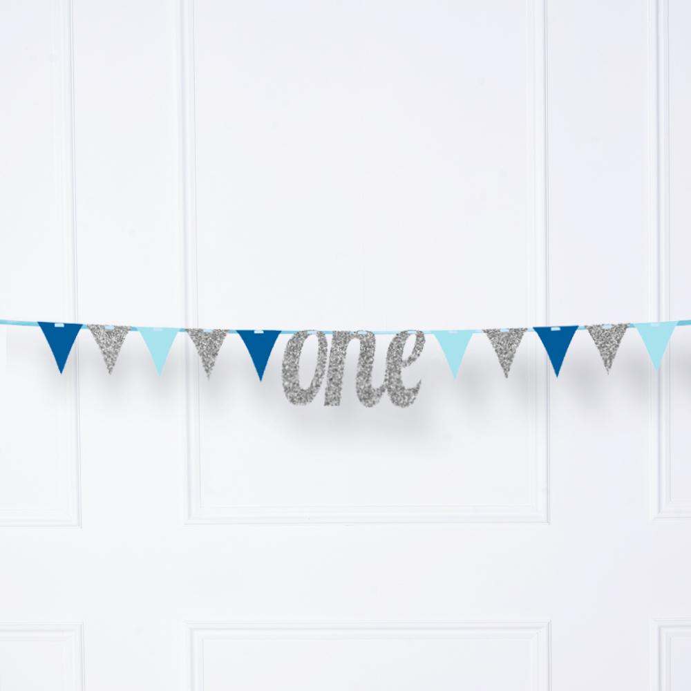Glitter 'One' Ribbon Banner Blue