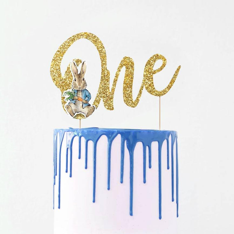 Peter Rabbit 'One' Glitter Cake Topper (each)