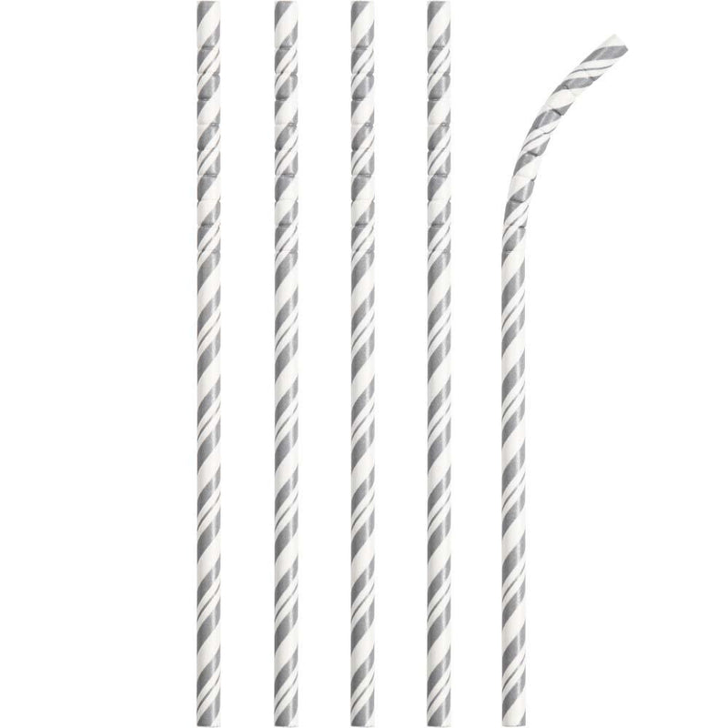 Striped Eco-Flex Paper Straws - Silver (x24)