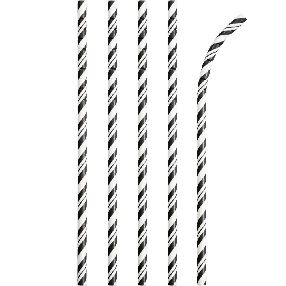 Striped Eco-Flex Paper Straws - Black (x24)