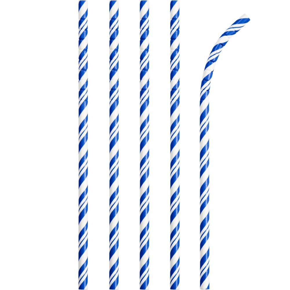 Striped Eco-Flex Paper Straws - Blue (x24)