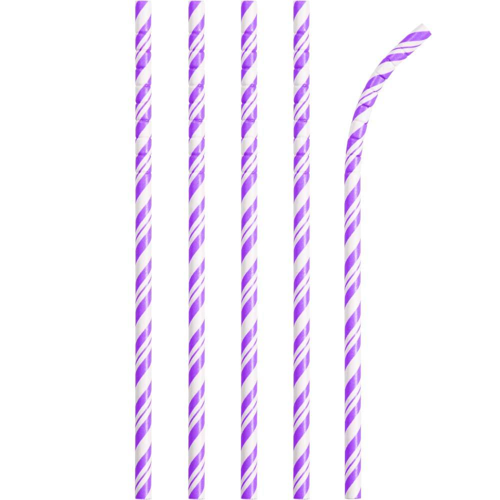 Striped Eco-Flex Paper Straws - Purple (x24)