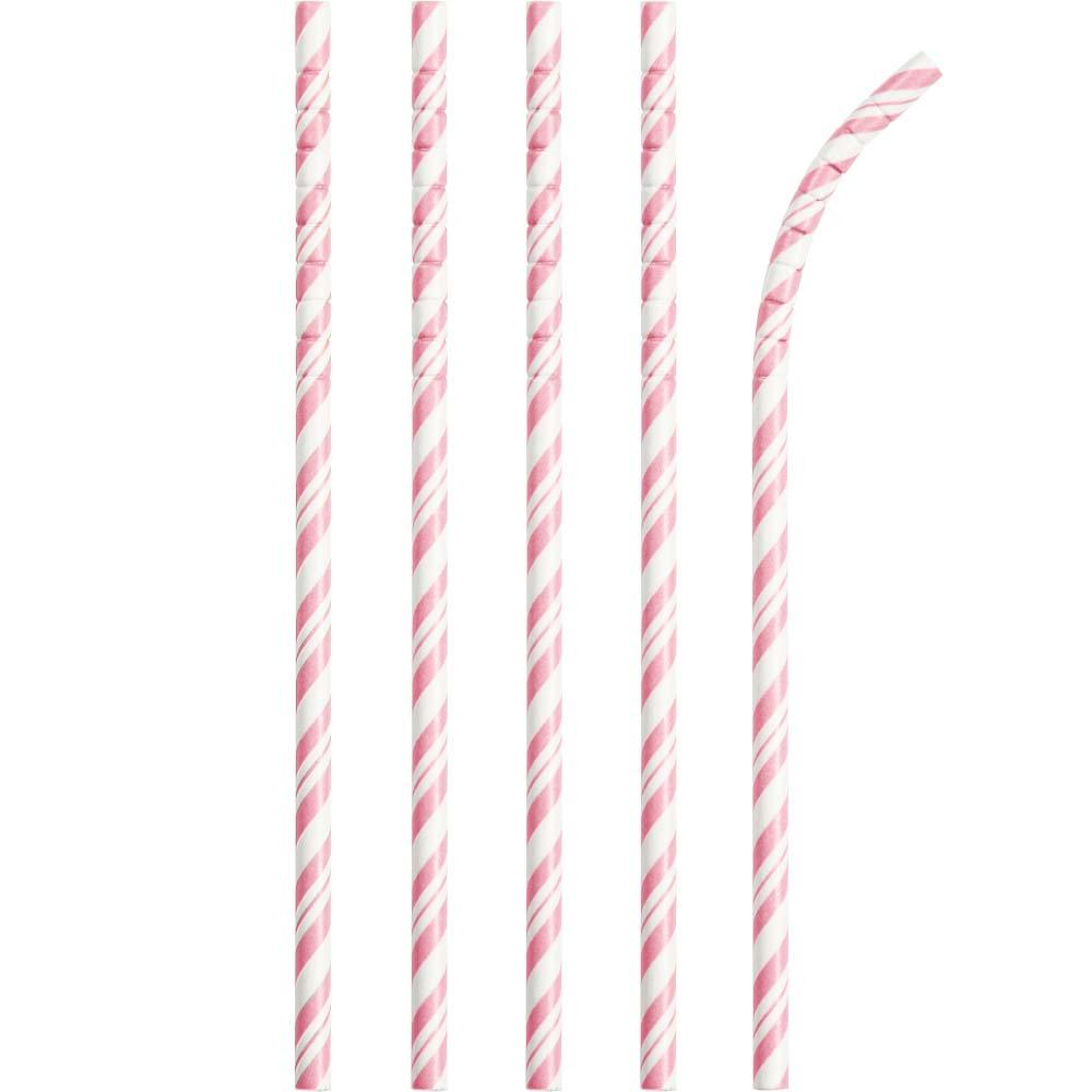 Striped Eco-Flex Paper Straws - Pastel Pink (x24)