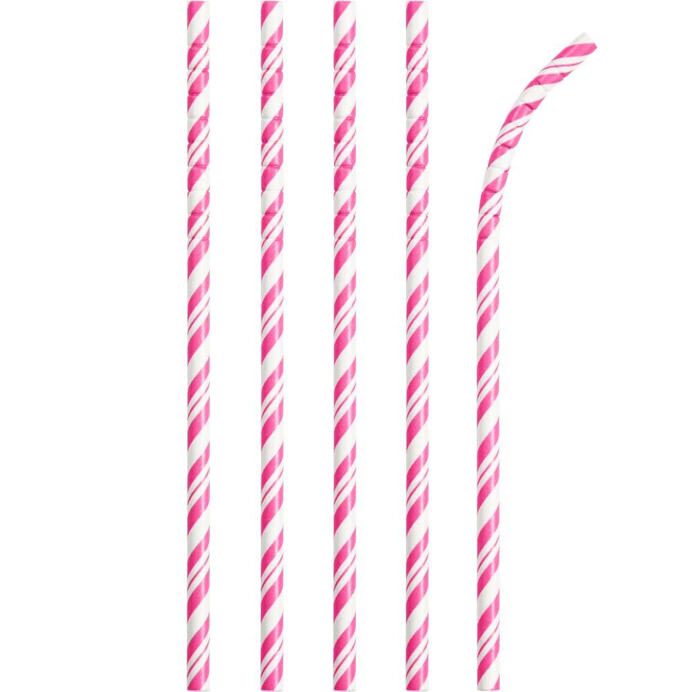 Striped Eco-Flex Paper Straws - Pink (x24)