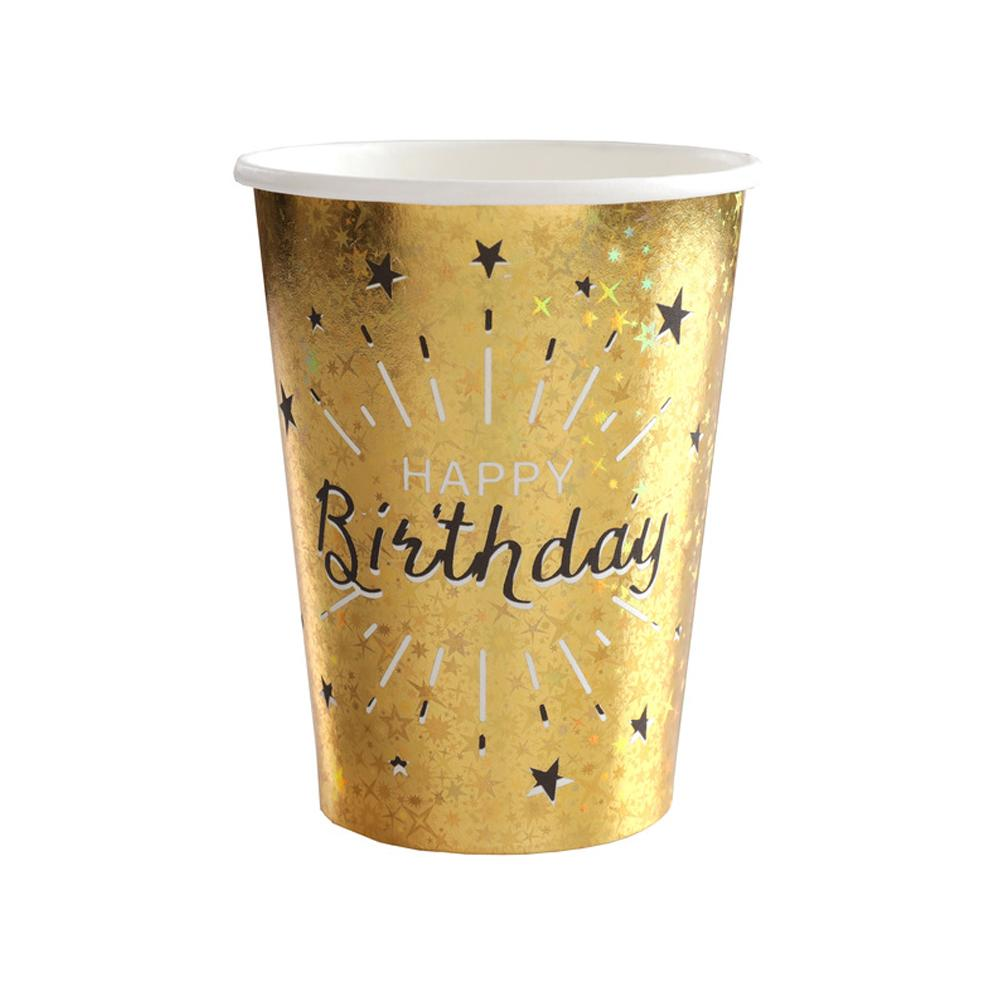 Click to view product details and reviews for Happy Birthday Black Gold Sparkle Cups X10.