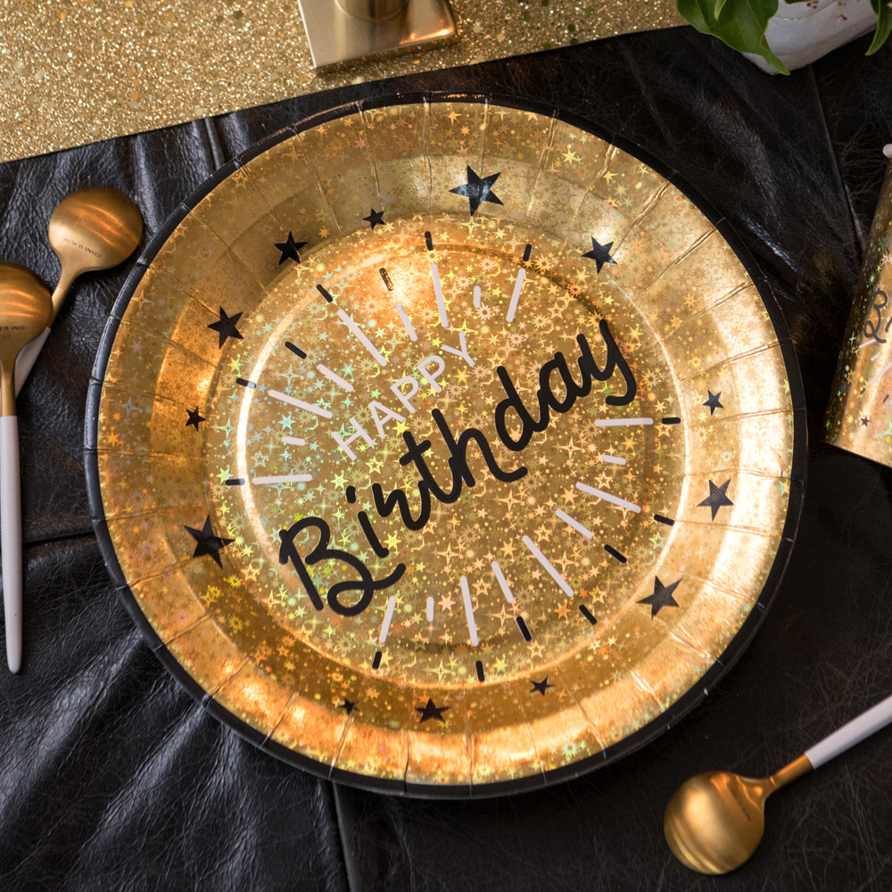 Happy Birthday Black & Gold Plates (x10)