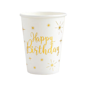 Happy Birthday White & Gold Sparkle Cups (x10)