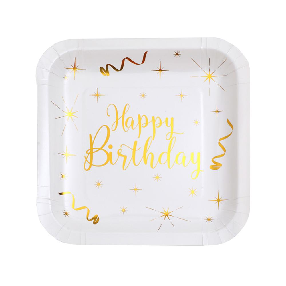Happy Birthday White & Gold Sparkle Square Plates (x10)