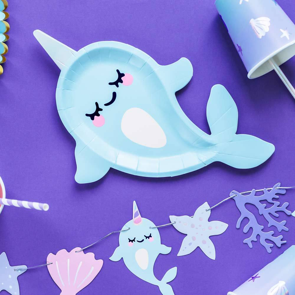 Narwhal Paper Party Plates (x6)