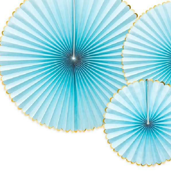 Decorative Party Fans Light Blue (x3)