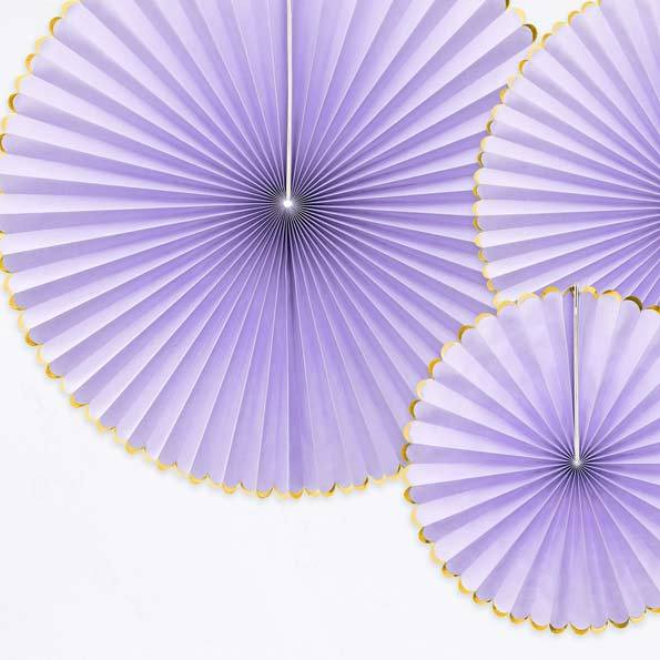 Decorative Party Fans Light Lilac (x3)