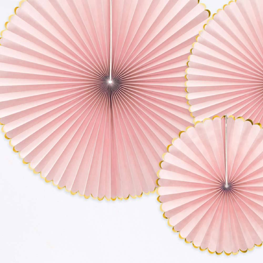 Decorative Party Fans Light Pink (x3)