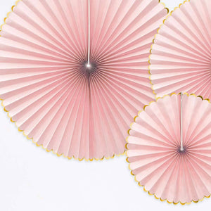 Decorative Party Fans - Light Pink (x3)