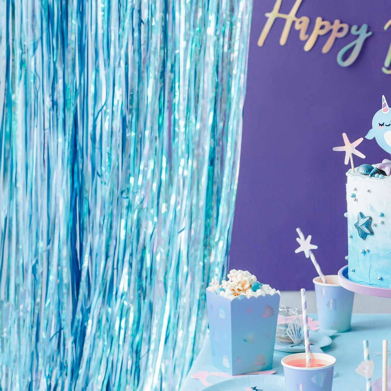 Fringe Backdrop Shimmery Blue
