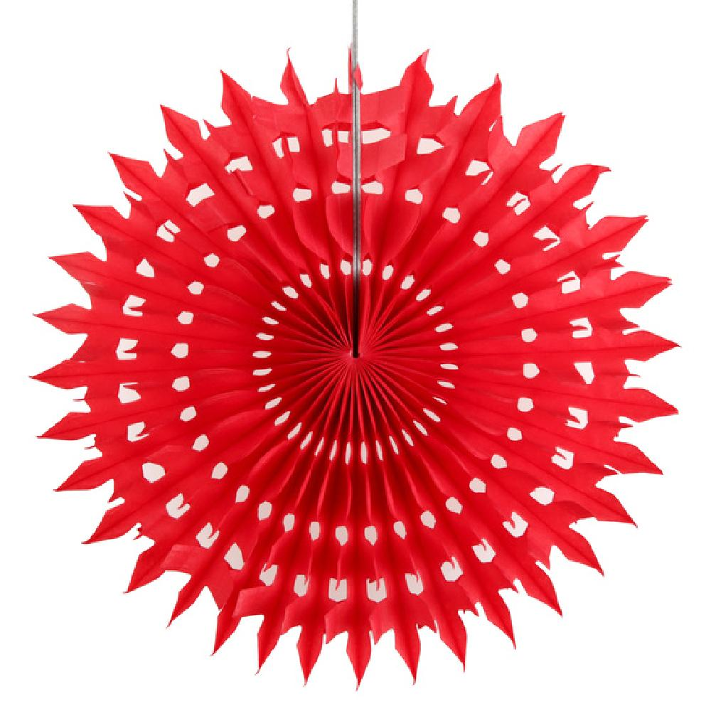 Hanging Paper Fan - Red (x2)