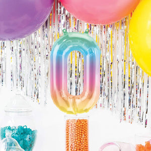 "Air-Fill Ombre 16"" Number 0 Balloon"
