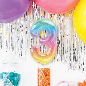 "Air-Fill Ombre 16"" Number 3 Balloon"