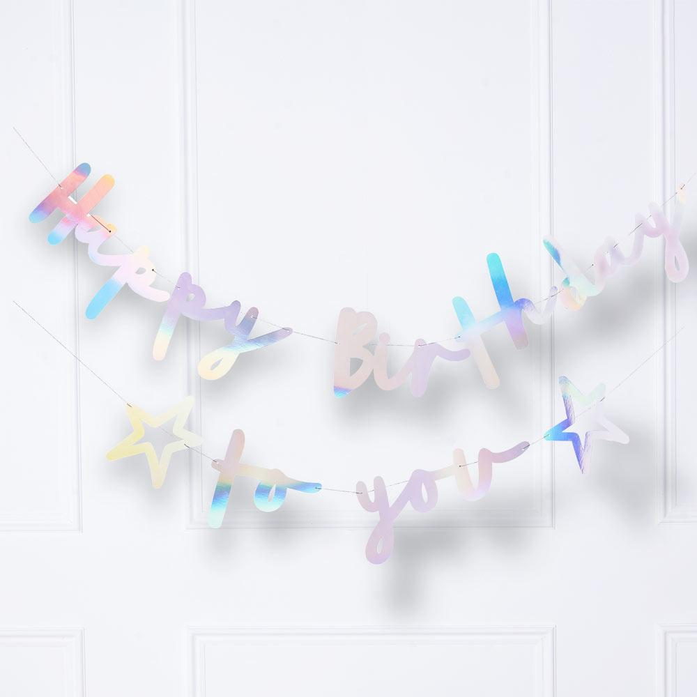 Iridescent Happy Birthday To You Banner - Double Layered