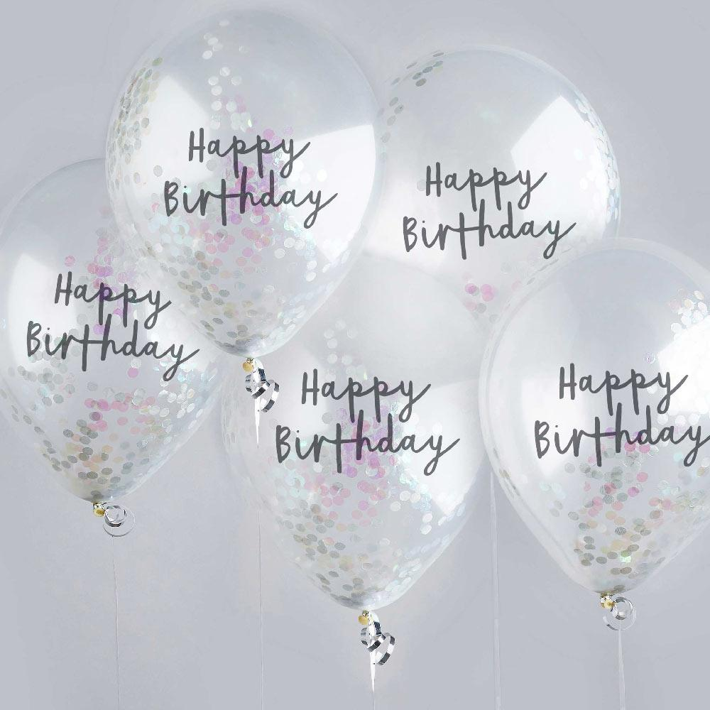 Iridescent Happy Birthday Confetti Balloon (x5)