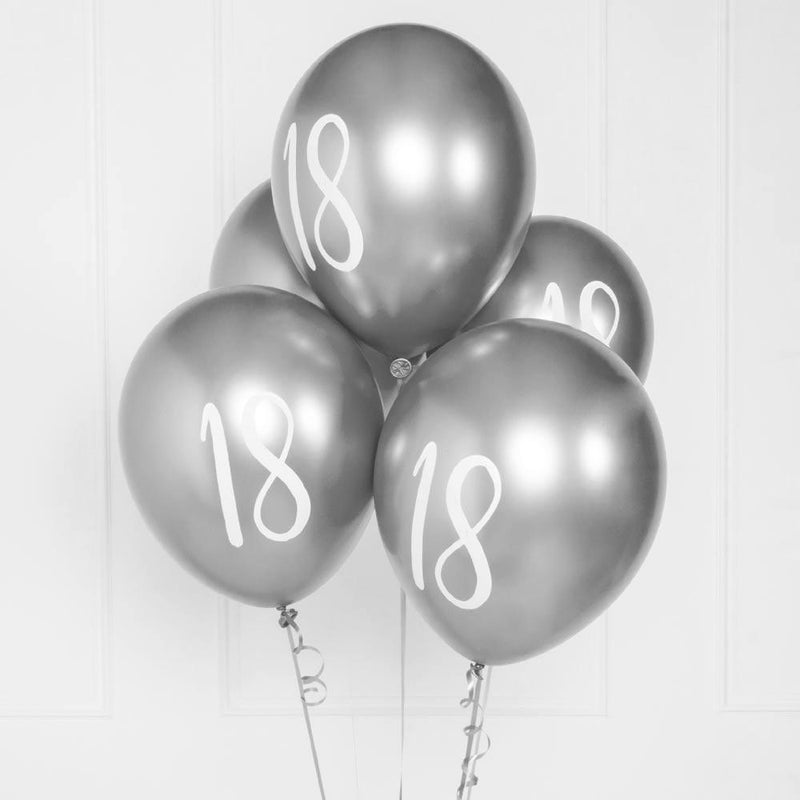 Silver Number 18 Balloons  (x5)
