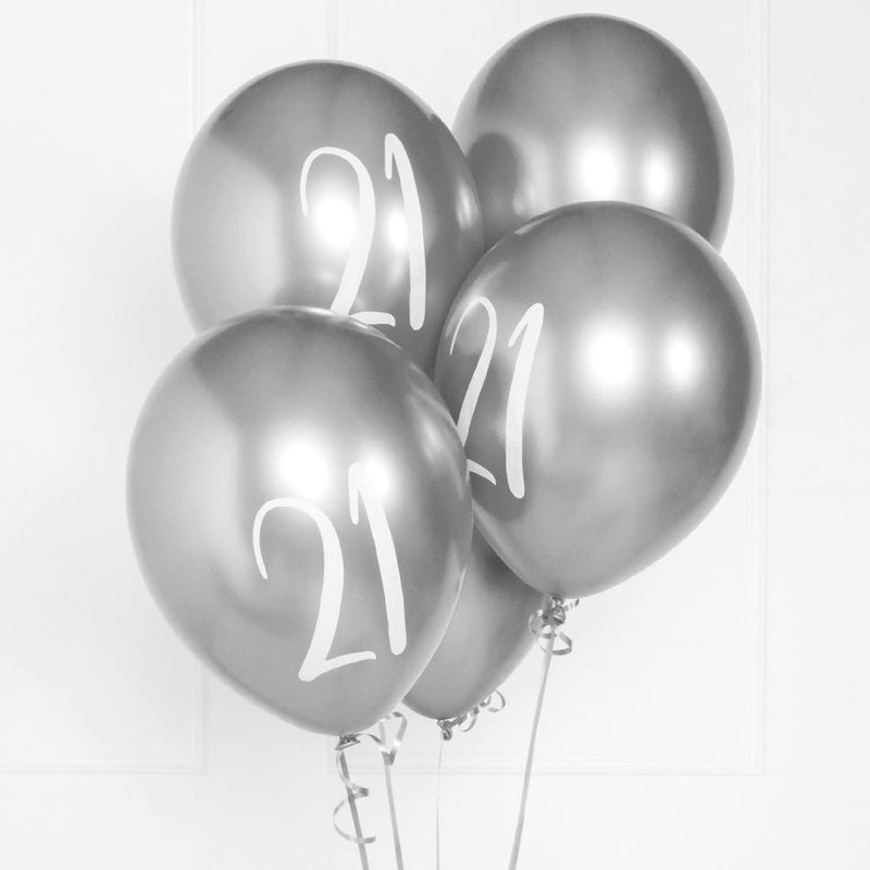 Silver Number 21 Balloons  (x5)