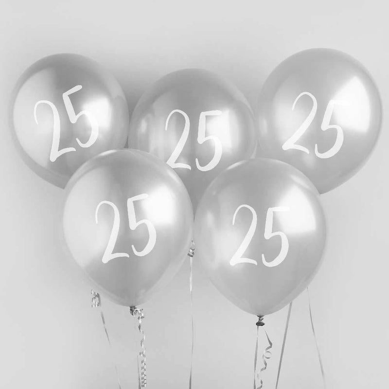 Silver Number 25 Balloons (x5)