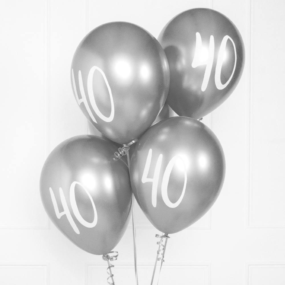 Silver Number 40 Balloons  (x5)