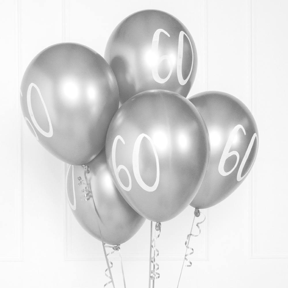 Silver Number 60 Balloons  (x5)