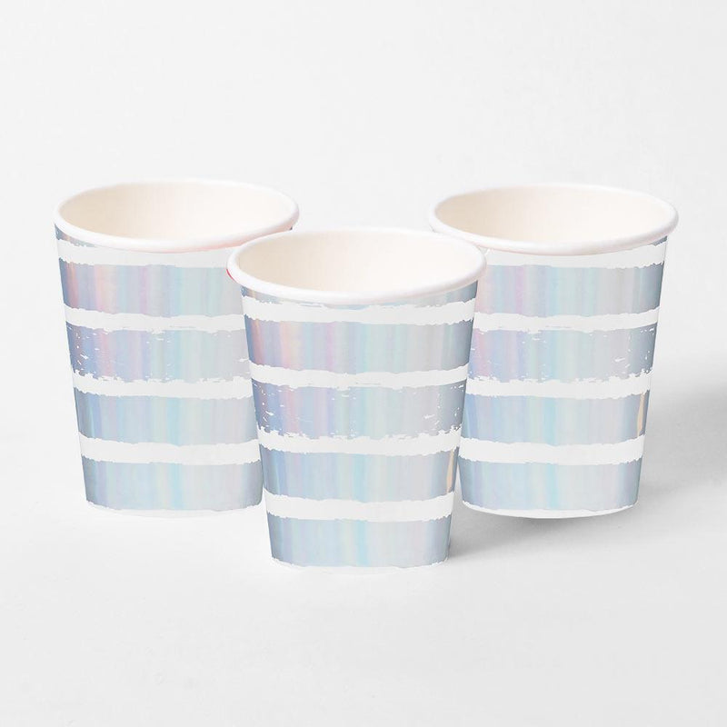 Iridescent Striped Paper Cups (x10)