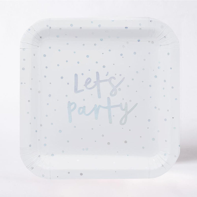 Iridescent 'Let's Party' Paper Plates (x10)
